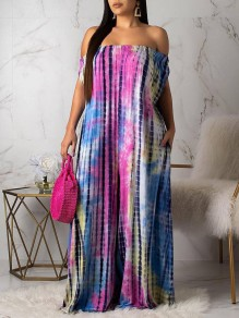 Pink Tie Dyeing Off Shoulder Pockets Backless Bohemian Beachwear Party Long Jumpsuit