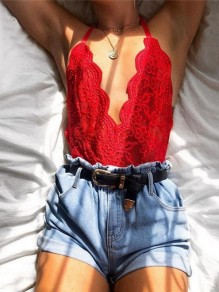 Red Lace Ruffle Halter Neck V-neck Backeless Fashion Casual Summer Short Jumpsuit