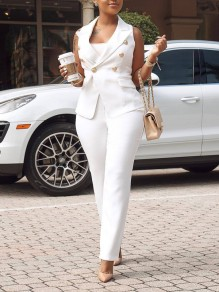 White Pockets Buttons V-neck Two Piece Suit Elegant Party High Waisted Long Jumpsuit