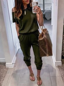 Army Green Pockets One-shoulder High Waisted Fashion Casual Long Jumpsuit