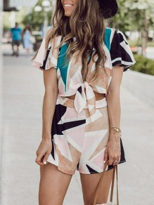Apricot Floral Print 2-in-1 Knot Fashion Short Jumpsuit