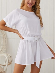 White Belt Pleated Bodycon Comfy Round Neck Short Sleeve Going out Jumpsuit