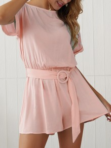 Pink Belt Pleated Bodycon Comfy Round Neck Short Sleeve Going out Jumpsuit