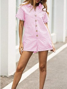 Pink Striped Single Breasted Pockets Turndown Collar Fashion Short Jumpsuit