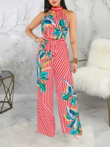 Red Striped Floral Halter Neck Belt Bohemian Party High Waisted Wide Leg Palazzo Long Jumpsuit