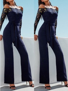 Black Lace Pockets Going out Comfy Fashion High Waisted Long Jumpsuit