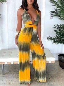 Yellow Tie Dyeing Halter Neck Backless Bohemian High Waisted Casual Wide Leg Palazzo Long Jumpsuit