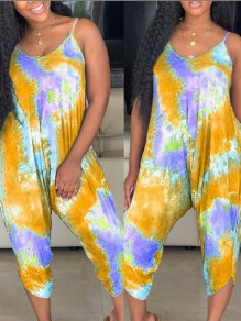 Yellow Tie Dyeing Spaghetti Strap Draped Harem Casual Bohemian Beachwear Long Jumpsuit