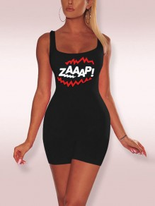 "Black ""ZAAAP!"" Print Spaghetti Strap Bodycon Casual Sports Short Jumpsuit"