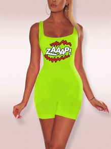 "Neon Green ""ZAAAP!"" Print Spaghetti Strap Bodycon Casual Sports Short Jumpsuit"