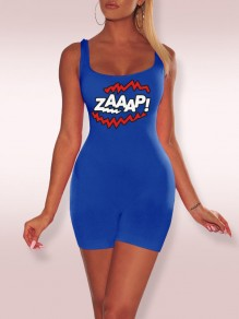 "Sapphire Blue ""ZAAAP!"" Print Spaghetti Strap Bodycon Casual Sports Short Jumpsuit"