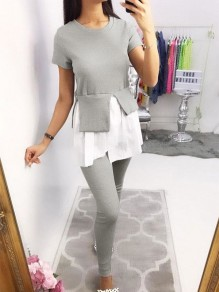 Grey Pockets Going out Comfy Fashion High Waisted Long Jumpsuit