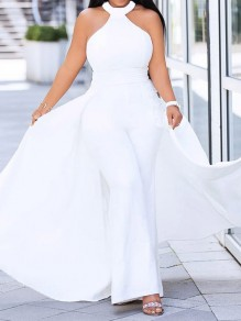 White Halter Neck Elegant Party Wide Leg Palazzo Long Jumpsuit With Maxi Overlay