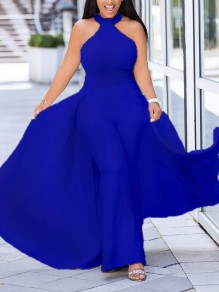 Sapphire Blue Halter Neck Elegant Party Wide Leg Palazzo Long Jumpsuit With Maxi Overlay