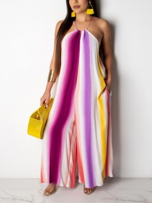 Purple Rainbow Striped Halter Neck Backless Pockets Bohemian Beachwear Wide Leg Palazzo Long Jumpsuit