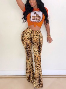 Orange Leopard Patchwork Sequin Two Piece High Waisted Bell Bottomed Flares Long Jumpsuit