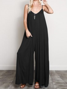 Black Pockets Spaghetti Strap Comfy Fashion Wide Leg Long Jumpsuit
