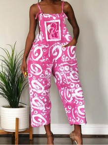 Pink Geometric Pockets Spaghetti Strap Wide Leg Casual Overall Long Jumpsuit