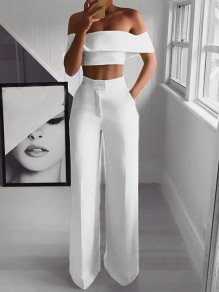 White 2-in-1 Pockets Off Shoulder High Waisted Elegant Wide Leg Long Jumpsuit