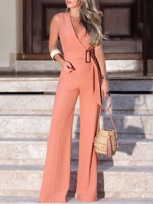 Pink Sashes V-neck High Waisted Elegant Wide Leg Long Jumpsuit