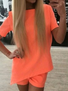 Orange Pockets Back V-neck Irregular Drawstring Waist Casual Summer Short Jumpsuit