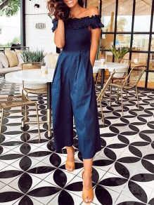 Navy Blue Patchwork Ruffle Pockets Off Shoulder Short Sleeve Fashion Jumpsuit