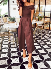 Coffee Patchwork Ruffle Pockets Off Shoulder Short Sleeve Fashion Jumpsuit