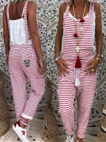 Red-White Striped Pockets Drawstring Knot Square Neck Fashion Overall Long Jumpsuit