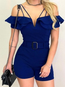 Blue Patchwork Lace Ruffle One Piece Spaghetti Strap Going out Jumpsuit