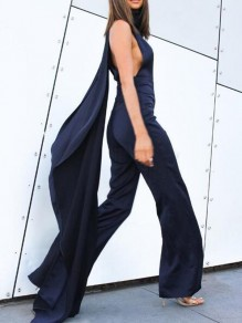 Navy Blue Sashes Band Collar One Piece Wide Leg Prom Banquet Party Long Jumpsuit