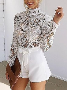 White Going out Comfy Fashion High Waisted Short Jumpsuit