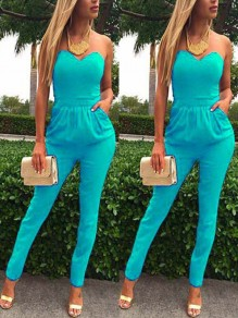 Blue Going out Comfy Fashion High Waisted Long Jumpsuit