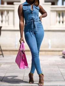 Dark Blue Sashes Single Breasted High Waisted One Piece Denim Long Jumpsuit