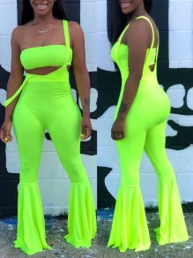 Neon Green Off Shoulder Two Piece Bodycon Party Bell Bottomed Flares Long Jumpsuit