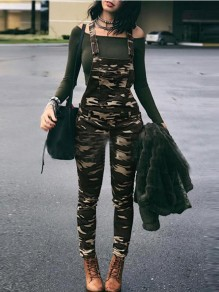 Army Green Camouflage Pockets One Piece Casual Overall Long Pants