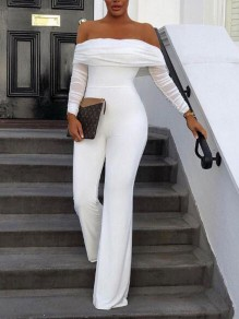 White Patchwork Grenadine Off Shoulder Backless Flare Bell Bottom Elegant Party Long Jumpsuit