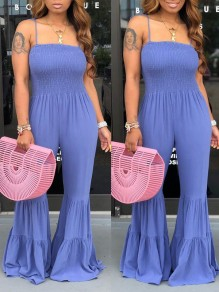 Purple Spaghetti Strap Cascading Ruffle Pleated Bohemian Beach Bell Bottomed Flares Long Jumpsuit