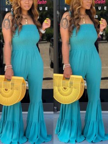 Light Blue Spaghetti Strap Cascading Ruffle Pleated Bohemian Beach Bell Bottomed Flares Long Jumpsuit