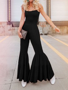 Black Spaghetti Strap Cascading Ruffle Pleated Bohemian Beach Bell Bottomed Flares Long Jumpsuit
