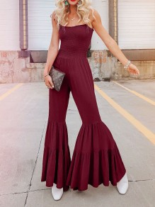 Burgundy Spaghetti Strap Cascading Ruffle Pleated Bohemian Beach Bell Bottomed Flares Long Jumpsuit