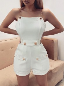 White Buttons Chain Bodycon One Piece Ttrendy Fashion Jumpsuit