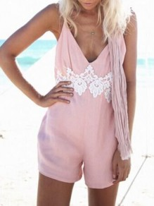 Pink Patchwork Lace Backless Spaghetti Straps V-neck Going out Jumpsuit