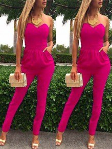 Rose Carmine Going out Comfy Fashion High Waisted Long Jumpsuit