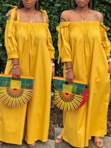 Yellow Pockets Off Shoulder Spaghetti Strap 3/4 Sleeve Wide Leg Long Jumpsuit