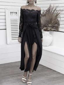 Black Patchwork Lace Off Shoulder Backless Double Slit Banquet Party Wide Leg Long Jumpsuit