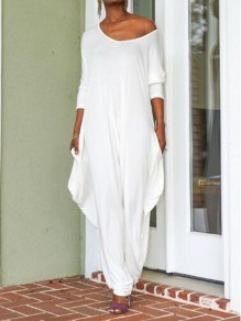 White Ruffle Cut Out One-Shoulder Half Sleeve Backless Haren Long Jumpsuit