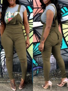 Army Green Pockets Cut Out Ripped Destroyed Overall Long Jumpsuit
