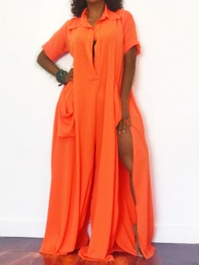 Orange Pleated Pockets Deep V-neck Party Wide Leg Palazzo Long Jumpsuit