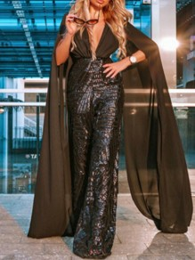 Black Patchwork Sequin Grenadine V-neck Sparkly Glitter Birthday Party Wide Leg Palazzo Long Jumpsuit