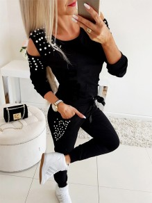 Black Going out Comfy Fashion High Waisted Long Jumpsuit